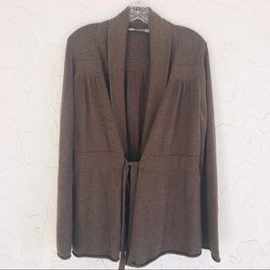 ATHLETA Brown Tie Front Cardigan Size Large